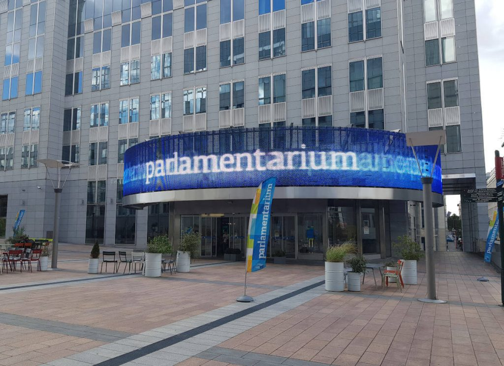 Eingangsbereich des Parlamentarium in Brüssel